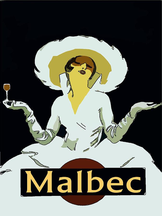 Malbec Digital Art - Malbec Vintage Wine Lady by Fig Street Studio