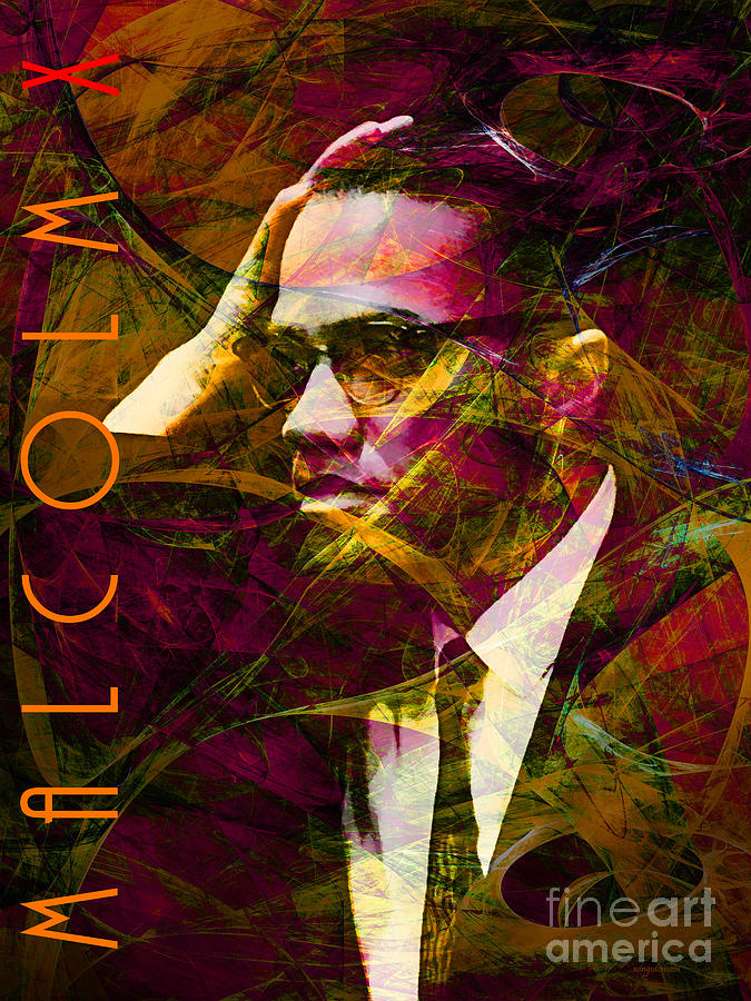 Celebrity Photograph - Malcolm X 20140105 With Text by Wingsdomain Art and Photography