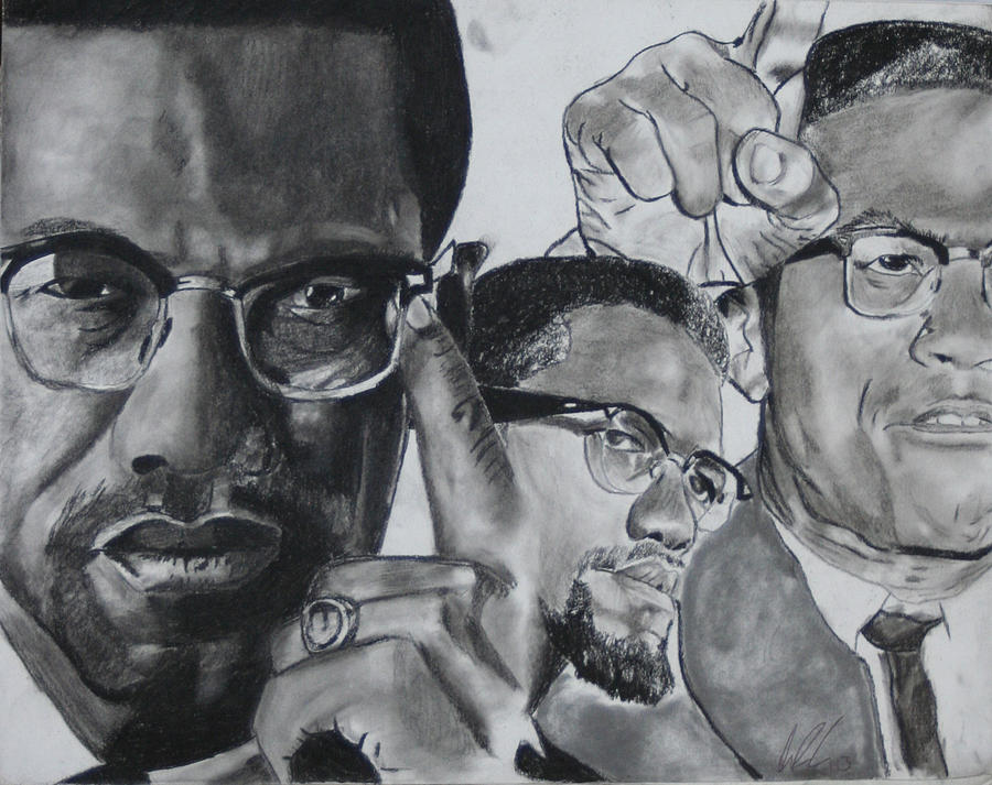 Peace Drawing - Malcom X by Aaron Balderas