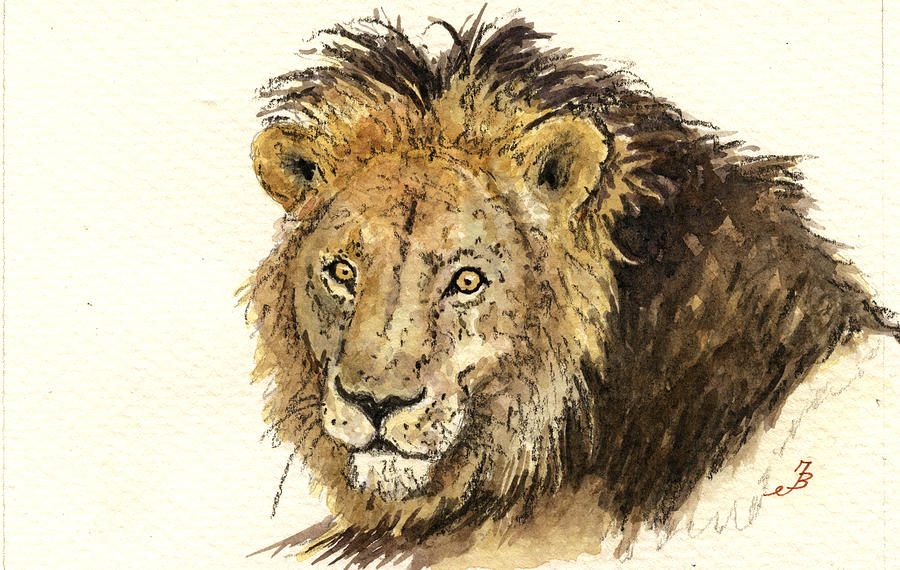 Male Lion Painting  - Male Lion Fine Art Print
