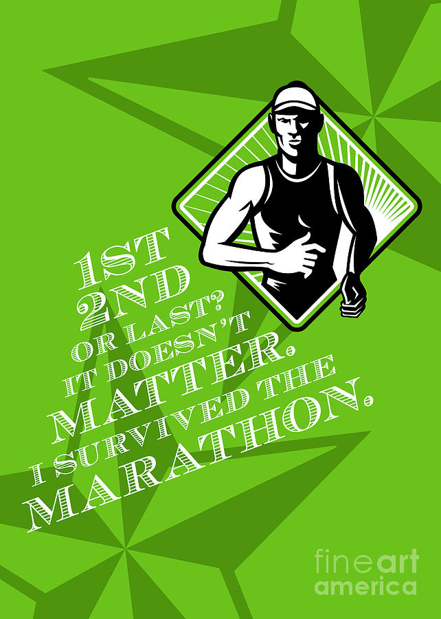 Male Marathon Runner Retro Poster Digital Art