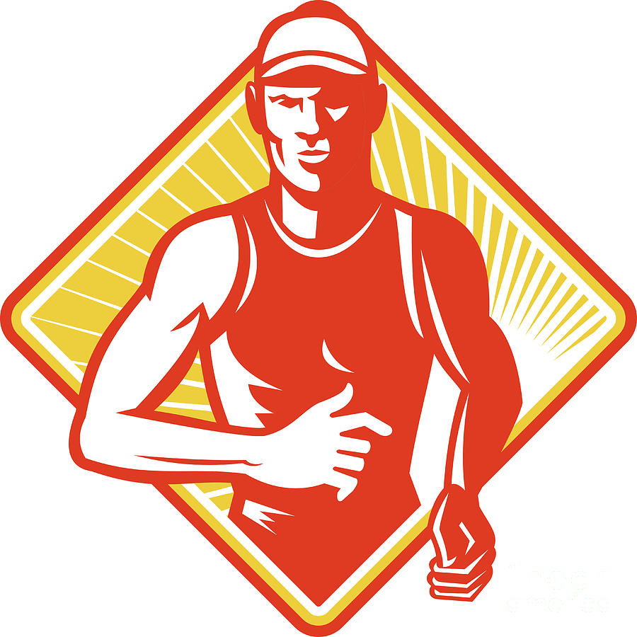 Male Marathon Runner Running Retro Woodcut Digital Art