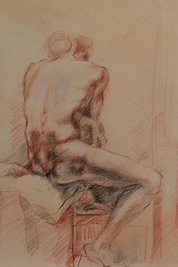 Male Nude 1 Drawing  - Male Nude 1 Fine Art Print