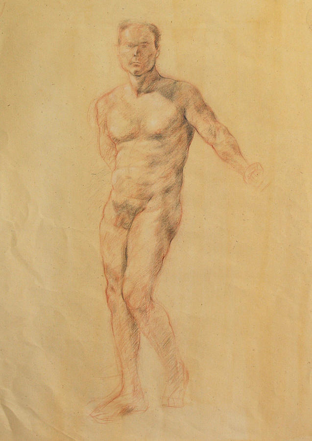Male Nude 2 Drawing  - Male Nude 2 Fine Art Print