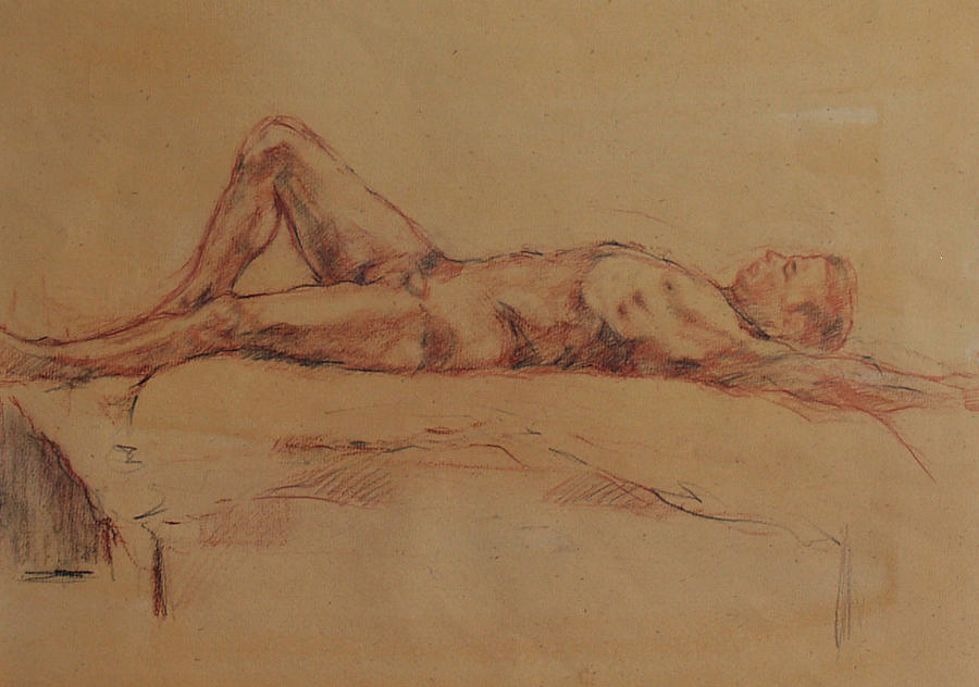 Nude Drawing - Male Nude 3 by Becky Kim