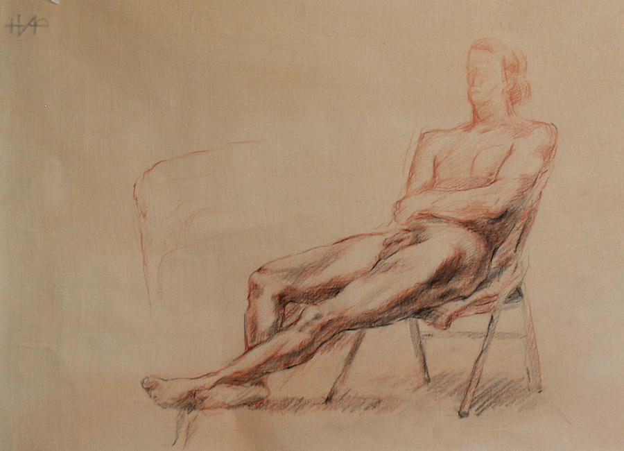 Nude Drawing - Male Nude 4 by Becky Kim