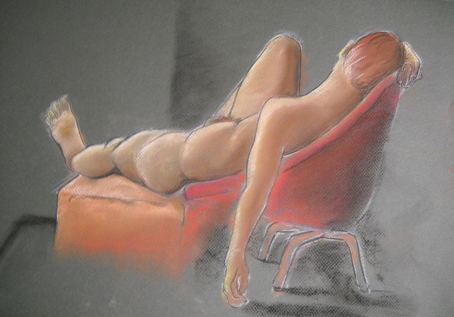 Male Nude In Red Chair Drawing  - Male Nude In Red Chair Fine Art Print