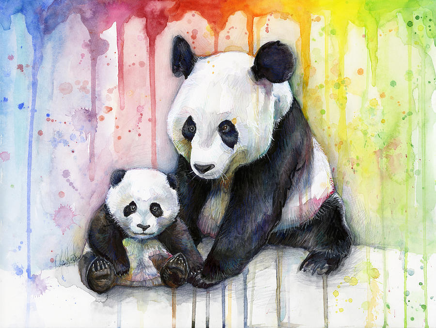 Panda Watercolor Mom And Baby Painting