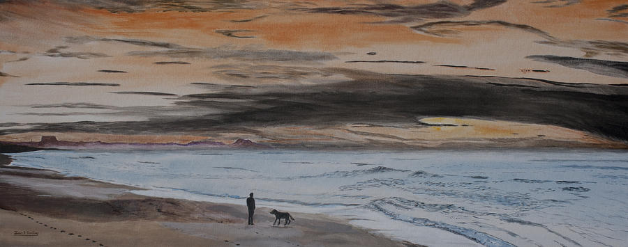 Man And Dog On The Beach Painting  - Man And Dog On The Beach Fine Art Print