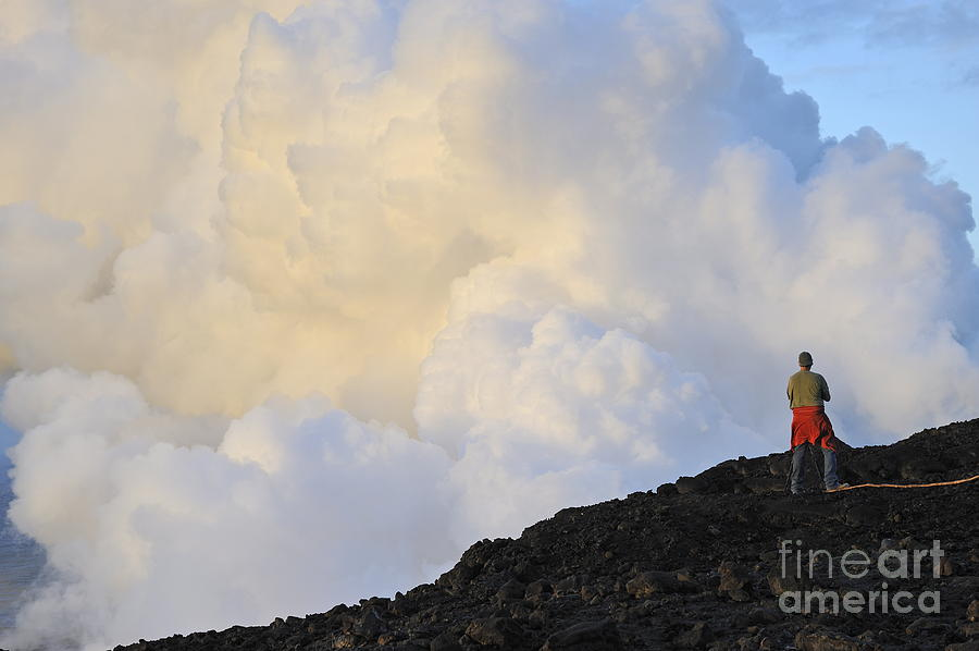 Man Contemplating Clouds Of Steam On Volcano Photograph  - Man Contemplating Clouds Of Steam On Volcano Fine Art Print