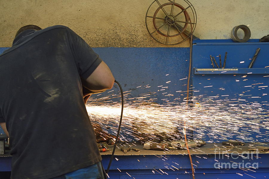 Man Cutting Steel With Grinder Photograph  - Man Cutting Steel With Grinder Fine Art Print