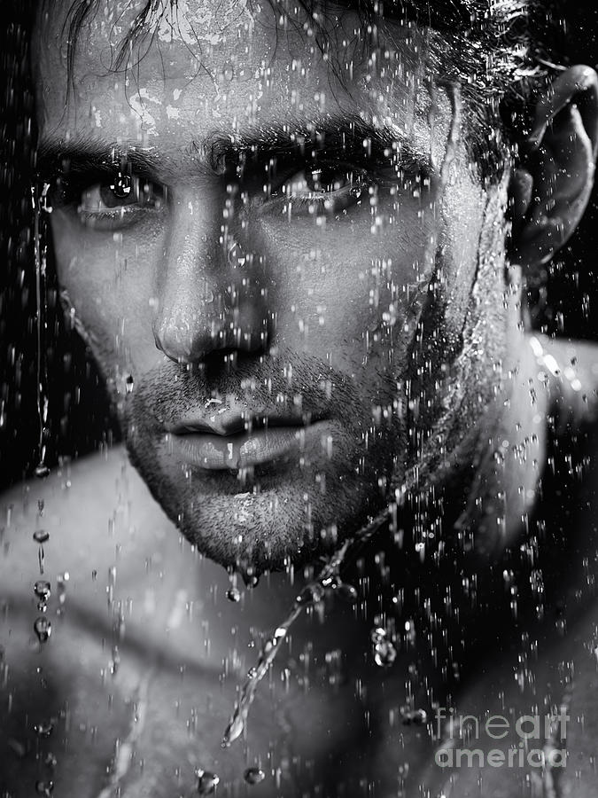 Man Face Wet From Water Running Down It Black And White Photograph