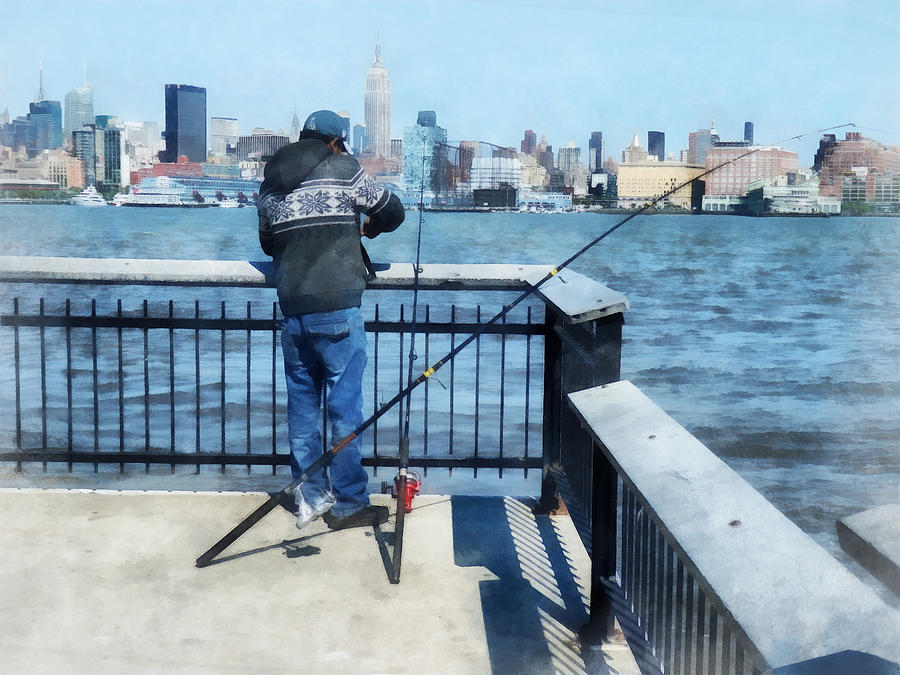 Man fishing off hoboken pier photograph by susan savad for Fishing off a pier
