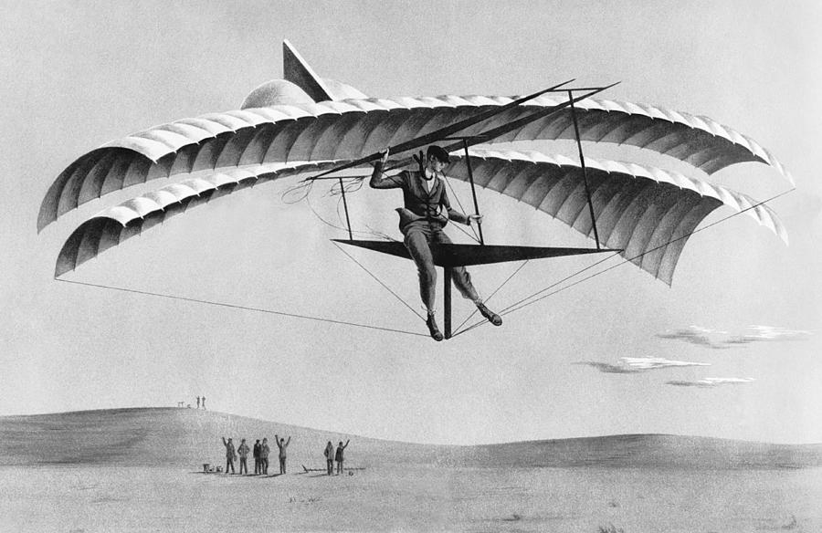 Man Gliding In 1883 Photograph