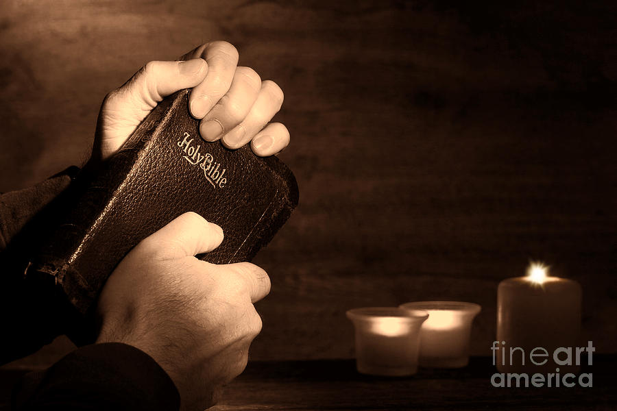 Man Hands And Bible Photograph