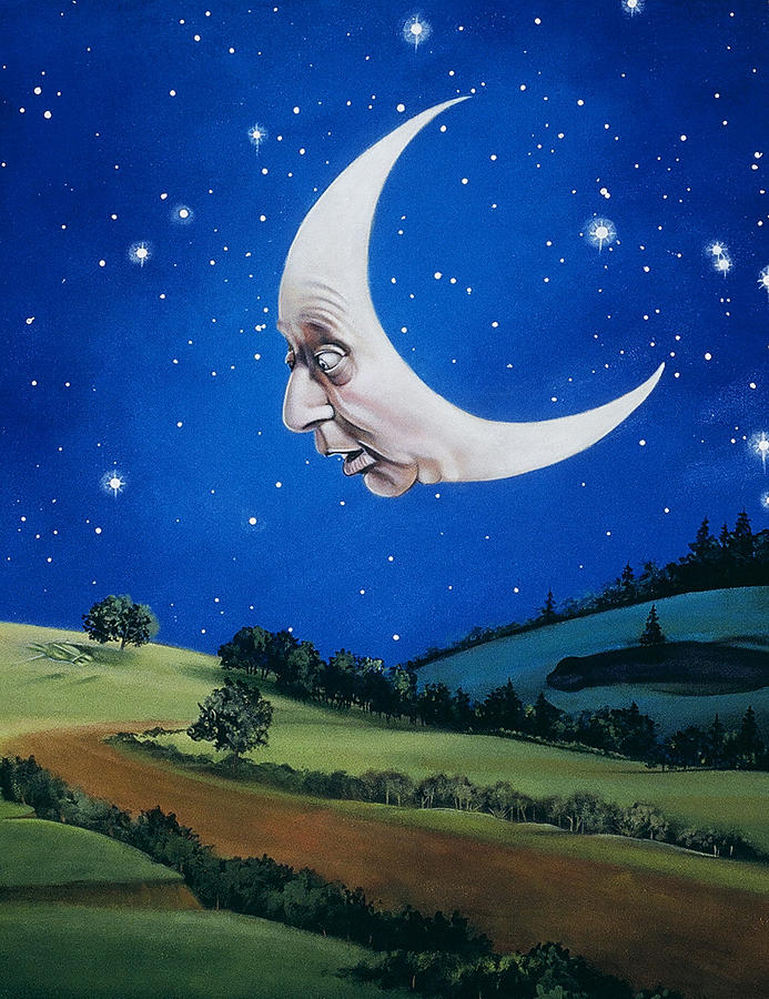 Man In The Moon Painting  - Man In The Moon Fine Art Print