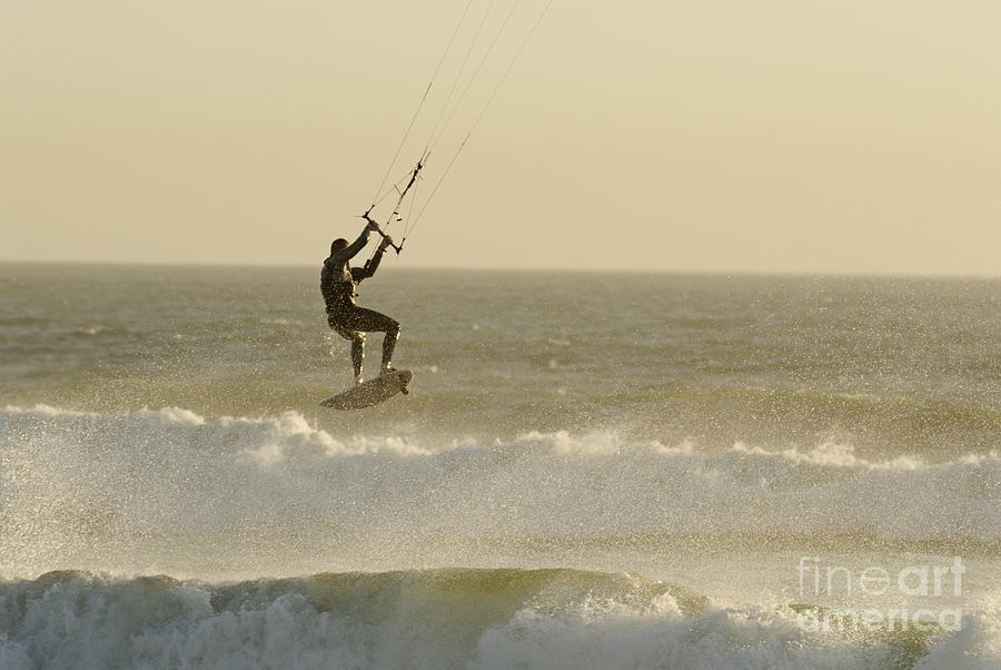 Man Kitesurfing On High Waves Photograph  - Man Kitesurfing On High Waves Fine Art Print