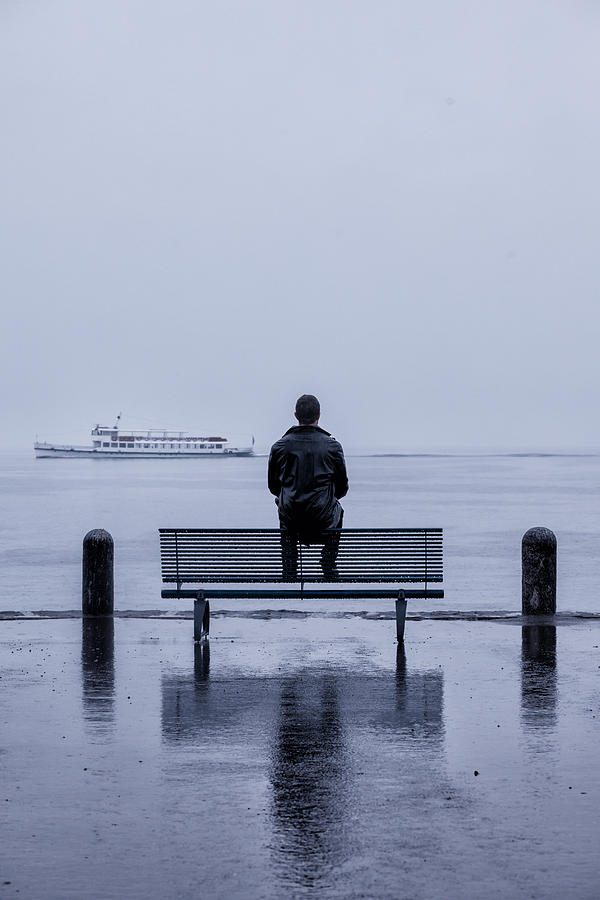 Man On Bench Photograph  - Man On Bench Fine Art Print
