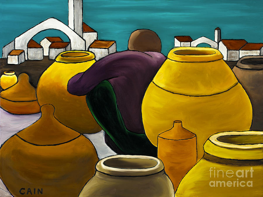 Man Selling Pots Painting