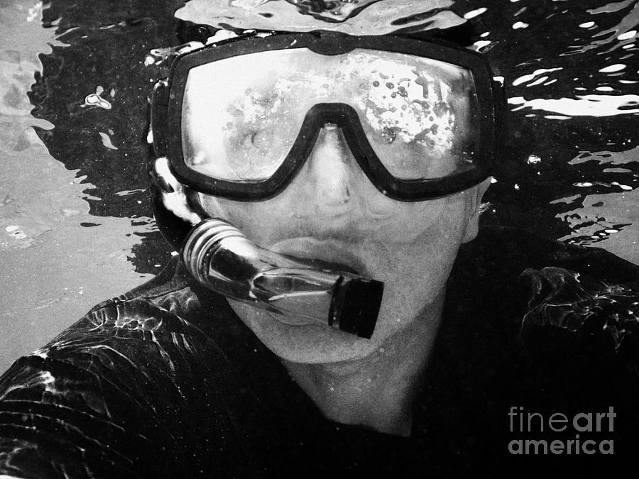 Man Snorkeling With Mask And Snorkel In Clear Water Dry Tortugas Florida Keys Usa Photograph