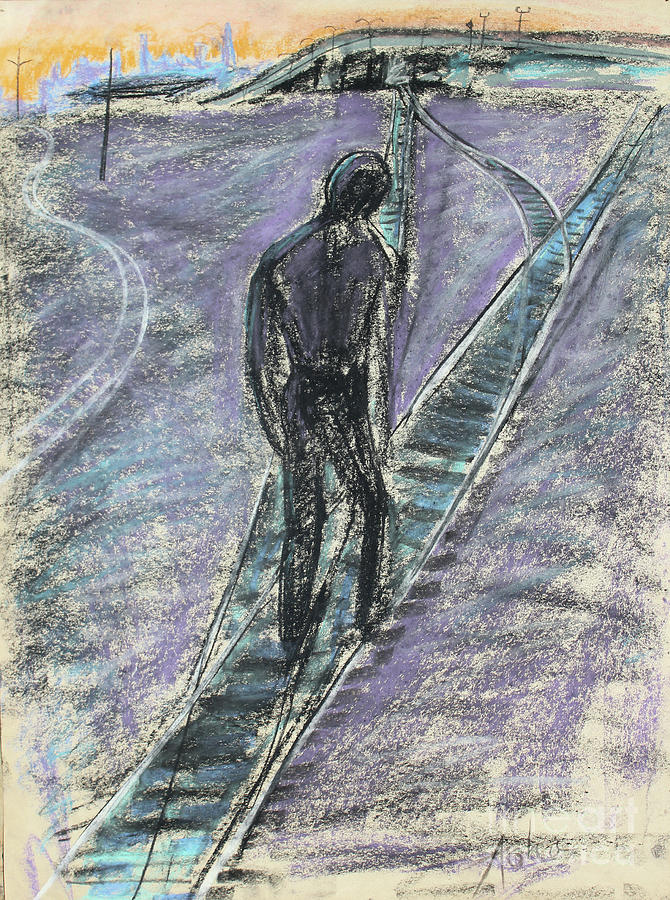 Pastel Painting; Pastel Drawing Painting - Man Walking On The Train Tracks by Asha Carolyn Young