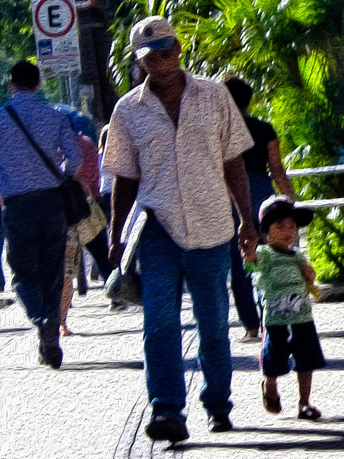 Man With Boy In Sao Paulo Photograph