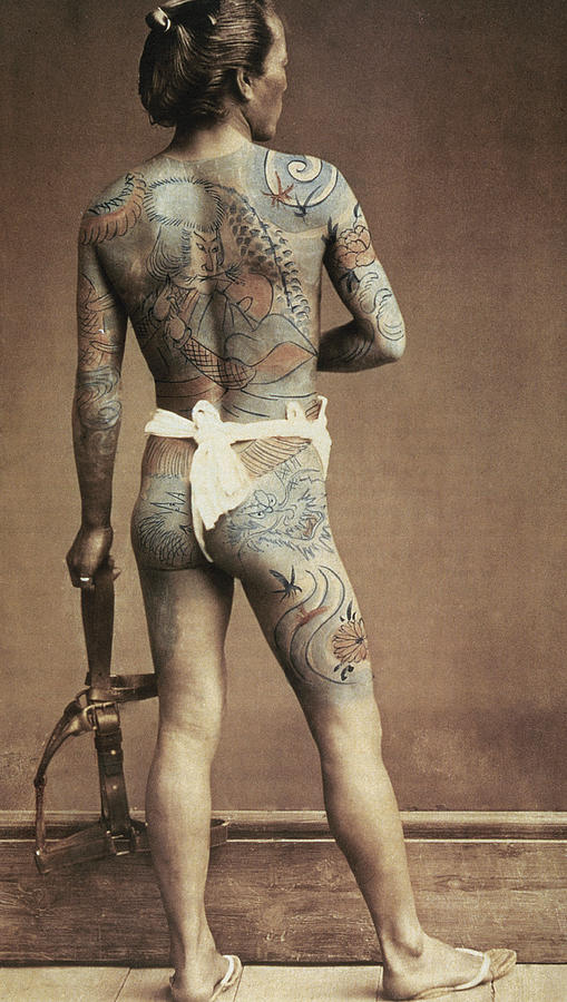 Male; Tattoing; Tattoos; Decorative; Design; Designs; Back; Body; Decoration Photograph - Man With Traditional Japanese Irezumi Tattoo by Japanese Photographer