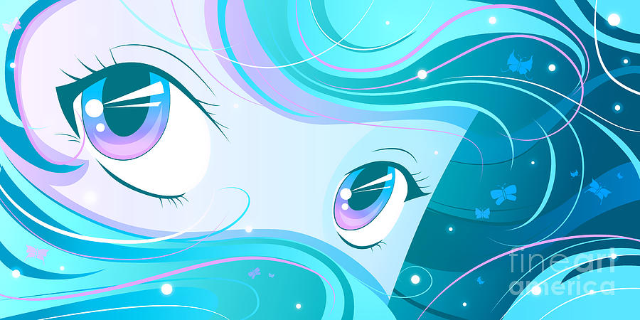 Mana Eyes Teal Digital Art