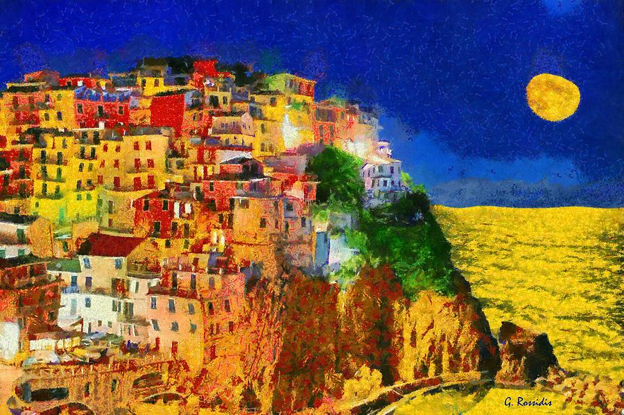 Rossidis Painting - Manarola By Night by George Rossidis