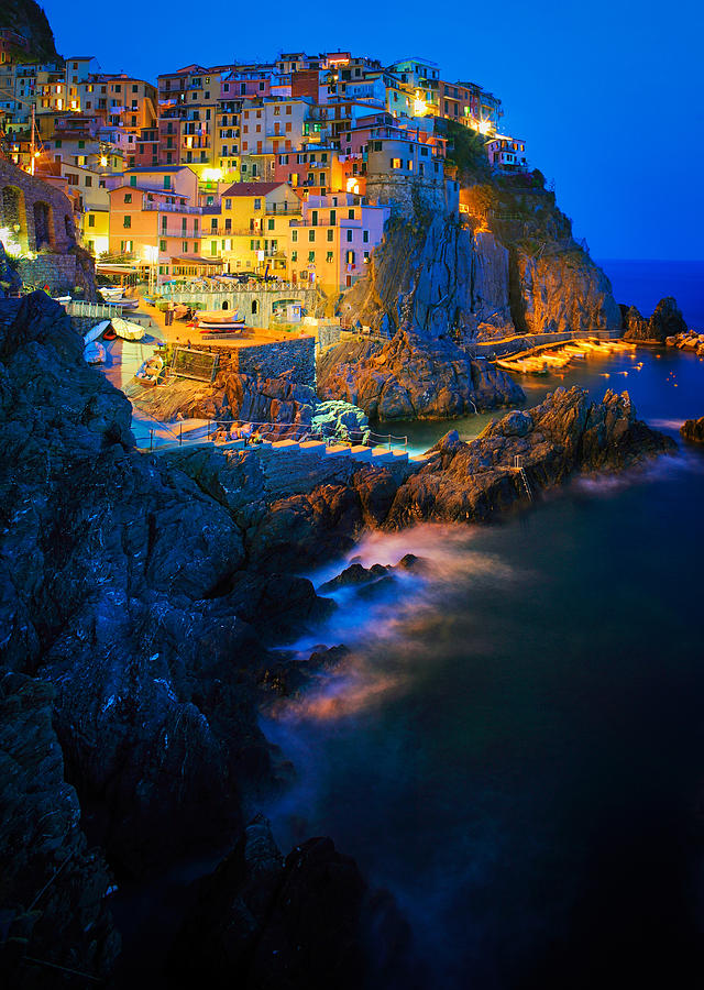 Manarola Lights Photograph  - Manarola Lights Fine Art Print