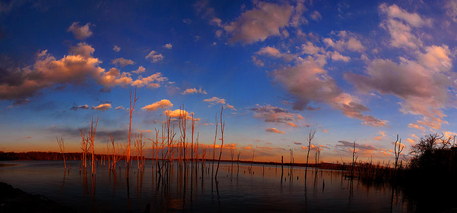 Manasquan Reservoir With Sunset Glow Photograph