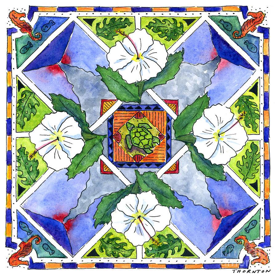 Mandala IIi - White Hibiscus Painting