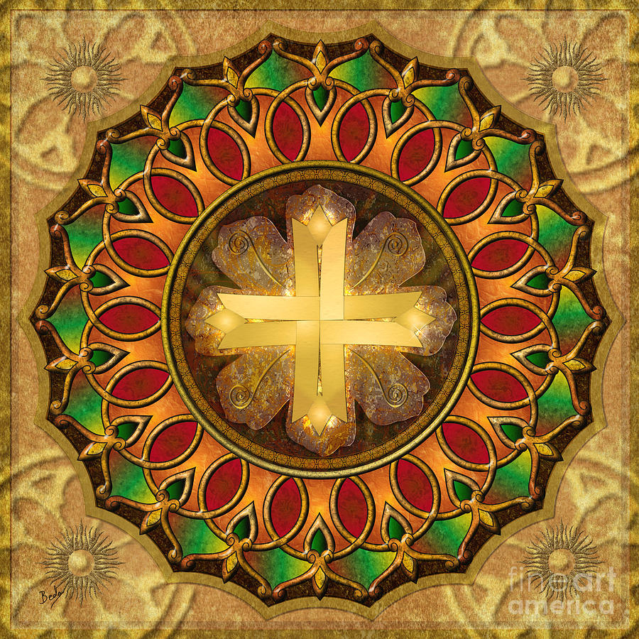 Mandala Illuminated Cross Digital Art