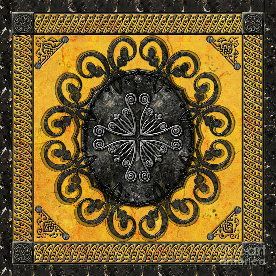 Mandala Obsidian Cross Digital Art  - Mandala Obsidian Cross Fine Art Print