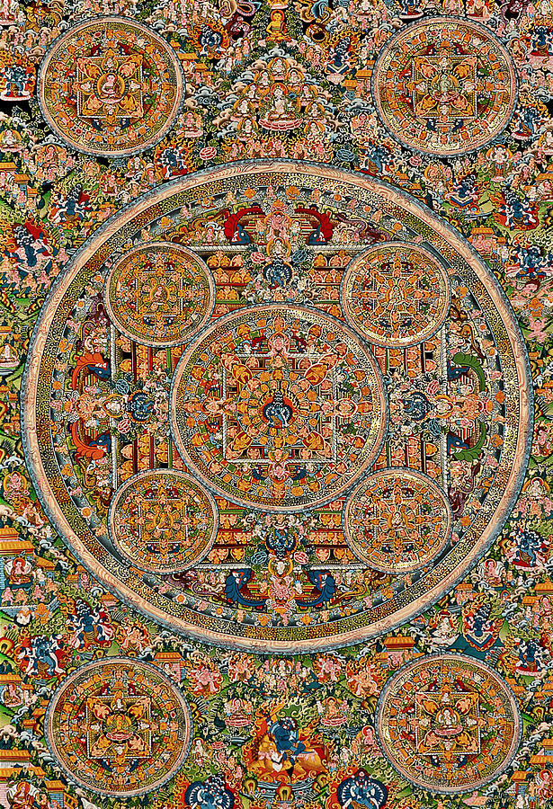 Mandala Of Heruka In Yab Yum And Buddhas Photograph  - Mandala Of Heruka In Yab Yum And Buddhas Fine Art Print