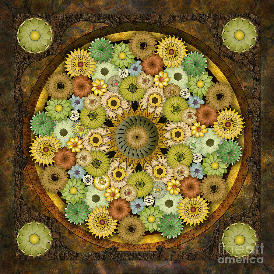 Mandala Stone Flowers Digital Art