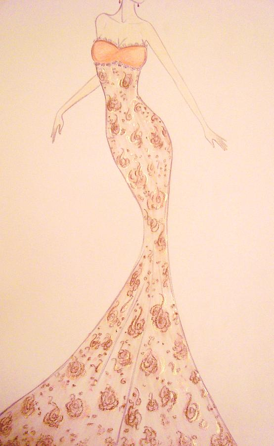 Mandarin Damask Gown Drawing  - Mandarin Damask Gown Fine Art Print