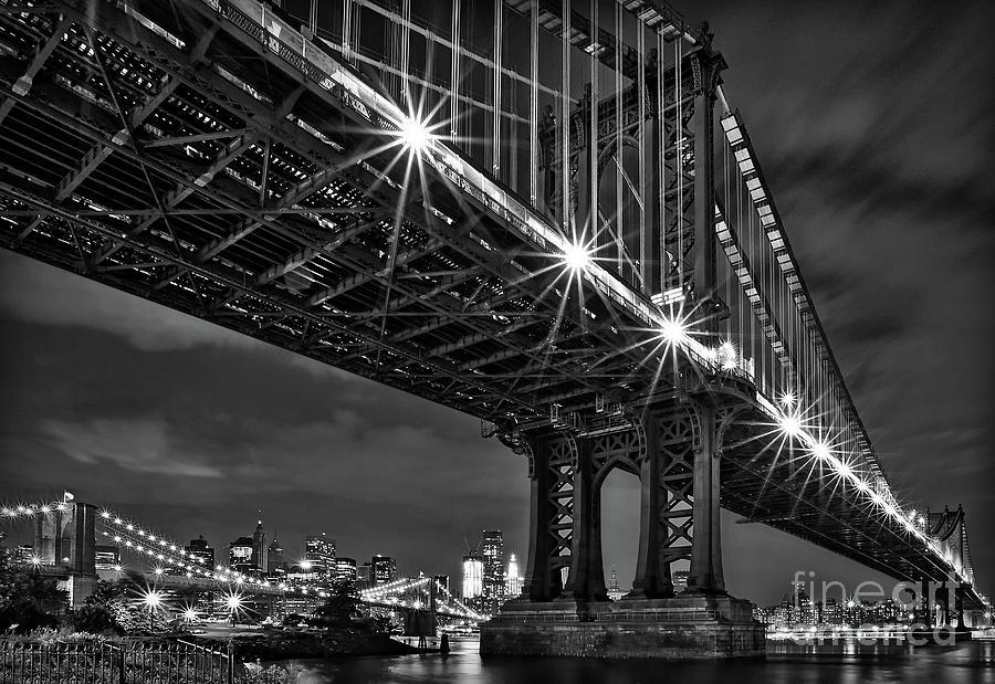 Manhattan Bridge Frames The Brooklyn Bridge Photograph