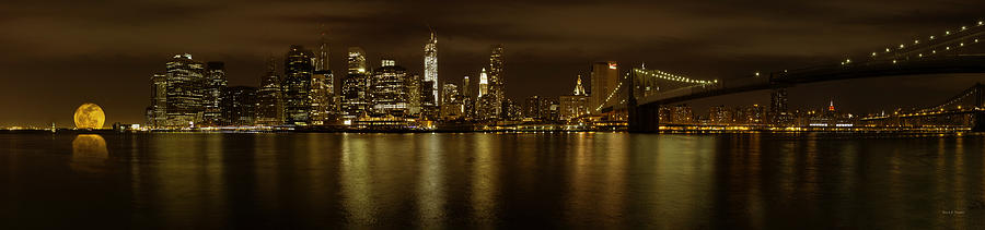 Manhattan From Brooklyn With The Brooklyn Bridge And Full Moon Photograph  - Manhattan From Brooklyn With The Brooklyn Bridge And Full Moon Fine Art Print
