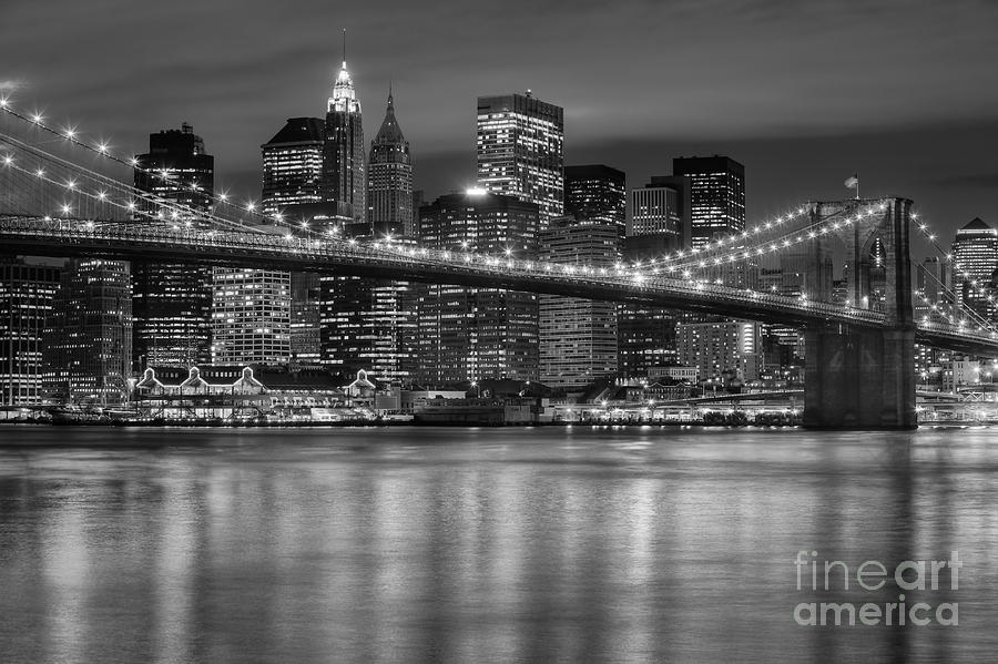 Manhattan Night Skyline Iv Photograph  - Manhattan Night Skyline Iv Fine Art Print