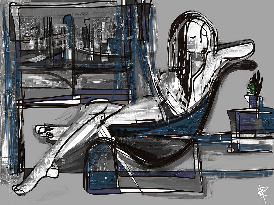Abstract Mixed Media - Manhattan Nude by Russell Pierce