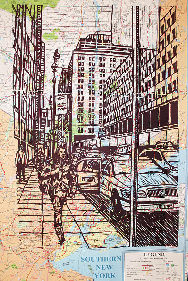 Manhattan On Map Drawing  - Manhattan On Map Fine Art Print