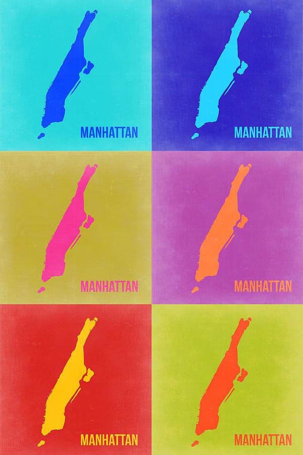 Manhattan Painting - Manhattan Pop Art Map 3 by Naxart Studio