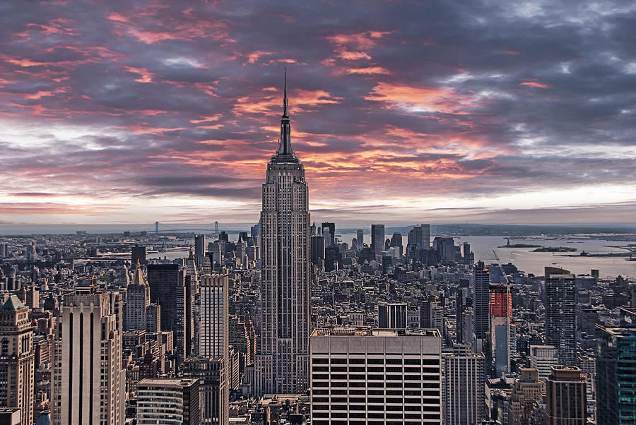 Manhattan Under A Red Sky Photograph