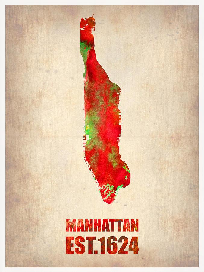 Manhattan Watercolor Map Painting