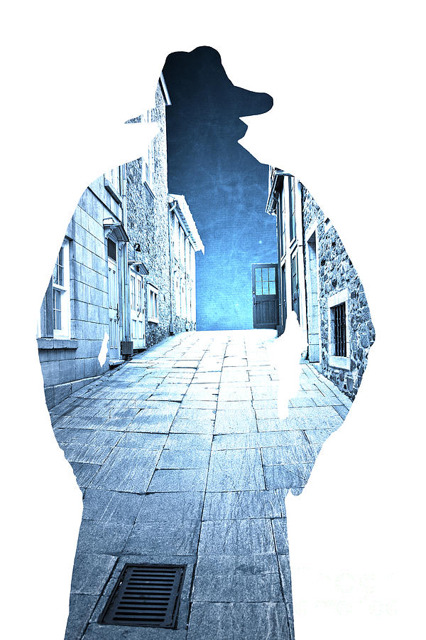 Mans Profile Silhouette With Old City Streets Photograph