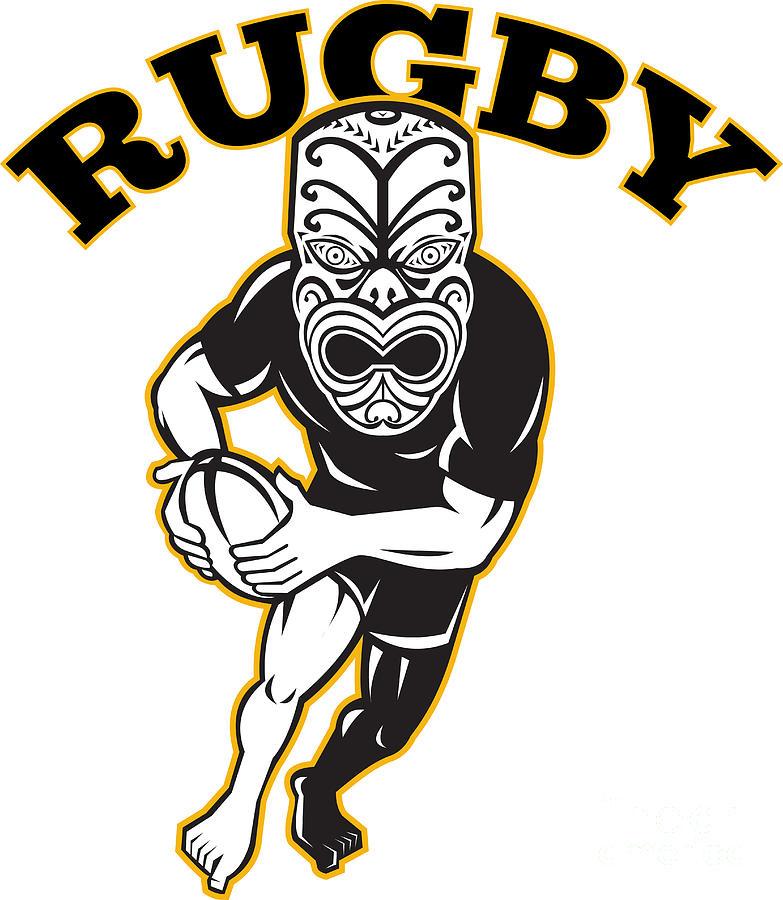 Maori Mask Rugby Player Running With Ball Digital Art