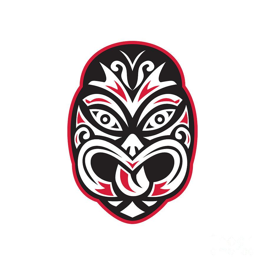 Maori Tiki Moko Tattoo Mask Digital Art By Retro Vectors