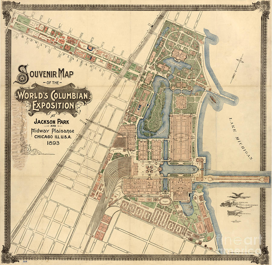 Map - Worlds Fair 1893 Drawing