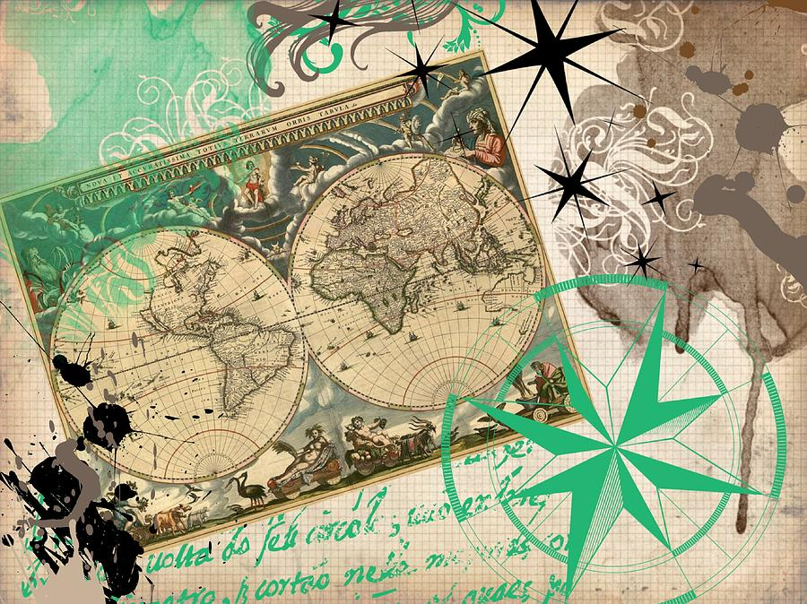 Map Collage Digital Art  - Map Collage Fine Art Print
